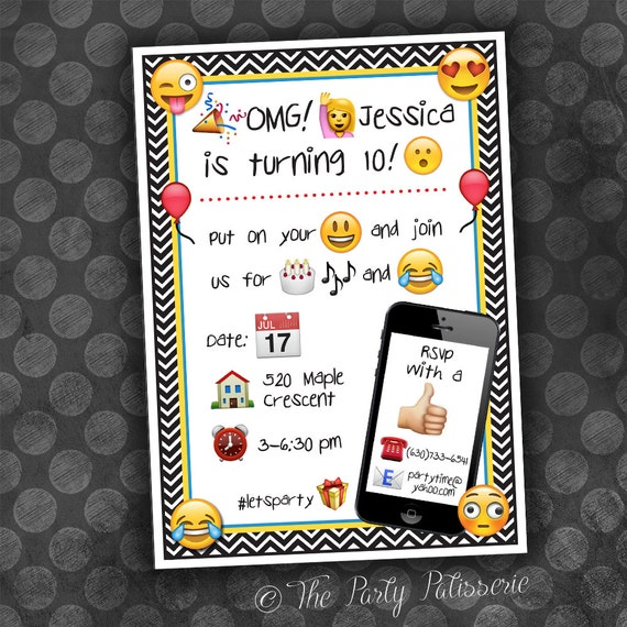 EMOJI Birthday Invitation / Digital File