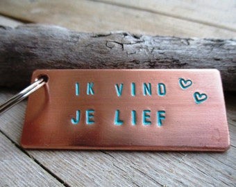 HANDMADE handmade Keychain/tag of copper with text ' I think you love ' colored with patina