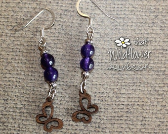 Wooden Butterfly Earrings, Wood Butterfly Earrings, Amethyst Earrings, Amethyst Jewelry, walnut wood butterfly earrings, wooden earrings