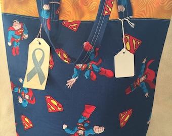 Homemade Superman Large Reusable Tote Bag