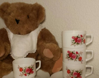 Child's plastic tea set for four and Vermont teddy bear - children gift ideas
