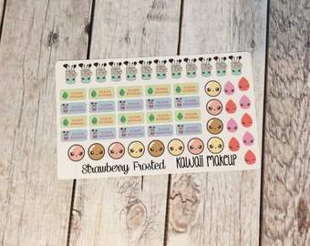 MINI Makeup Kawaii Themed Planner Stickers- Made to fit Vertical Layout