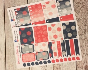 Hot Pink, Navy, and Ivory Dahlia Themed Planner Stickers - Made to fit Vertical Layout