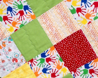 SALE! Baby Quilt, Modern, Handmade, Patchwork Quilt, Handprints, Crib Bedding, Nursery Bedding, Red Yellow and Green Baby Quilt, Toddler