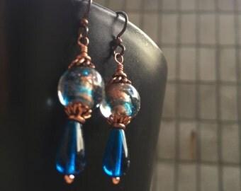 SALE Vintage Handmade Teal with Aventurine Lampwork Bead Earrings