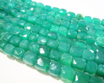 """Natural Green Onyx Faceted Box Cube Semi precious stone Gemstone Bead Strand 8"""" loose Chalcedony beads Crystals Jewelry gems craft Supplies"""
