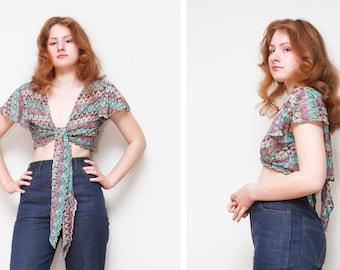 Vintage Womens Crop/Shrug Top/ Colorful Crochet