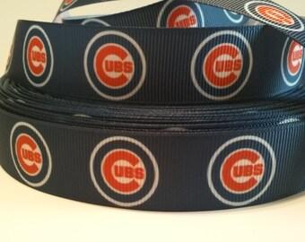 "Chicago Cubs inspired 7/8"" Grosgrain Ribbon"