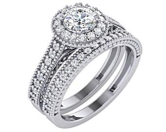 1 Carat Diamond Engagement Ring,Wedding Set, Halo Engagement Ring, Bridal Set, Vintage Engagement Ring, Antique Diamond Engagement Ring