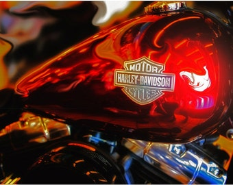 Harley Davidson Red Tank, Metal Prints, Harley Prints, Motorcycle Prints, Motorcycle Art, Wall Art, Photography, Prints, Gifts for Him
