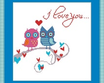 Cute owls in love Counted cross stitch pattern PDF, instant download, printable pattern, I love you
