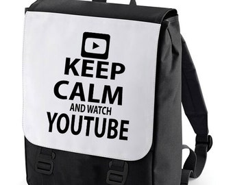 Keep Calm and watch Youtube Backpack perfect for school (Bagbase)