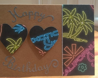 Funky neon night effect hand crafted card
