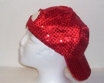 Red Sequined Rave Disco Baseball Style Hat Cap Adjustable Sz S - XXL for Cosplays, Dance, Raves, Theater, Parties, PokemonGo Teams, Etc