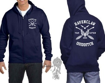 CAPTAIN - Ravenc Quidditch team Captain White print printed on Navy Zipper Hoodie