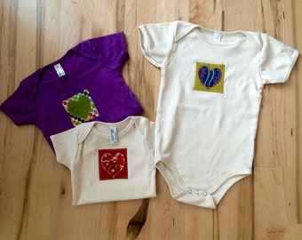 Organic Cotton Hand Applique Baby Onesies