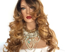 """JOB Brown Ombre Hair Lace Part Wig 24"""""""