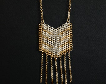 Gold & Silver Long Necklace, BOHO Necklace. FREE SHIPPING