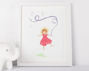 Dancing Girl, Art Print, Nursery Art, Print, Nursery Decor, Children's Wall Art, Girl's Room, Dancer, Girl's Wall Art, Art for girls,