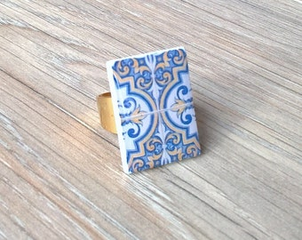 Portuguese tile ring, tile ring, Portuguese jewelry, Portugal, OOAK ring, statement ring, azulejos, azulejo ring