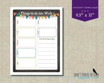 Fun Printable Weekly To Do Sheet  - Fun Family Planner Sheet - Instant Download