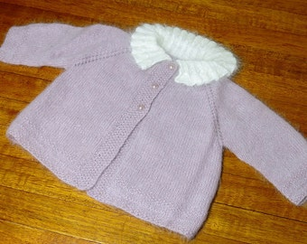 Hand knitted Baby Jacket. Angora and Lambswool 0-3 months or Reborn Doll