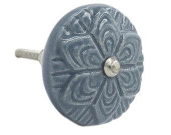 Grey Wheel Flower Ceramic Decorative Knob Pull, Drawers, Cabinets, Doors - fk83