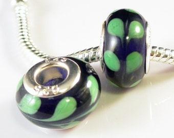SALE - 2pcs Murano Glass Beads Lampwork Silver Core Large Hole Fits European & Charm Bracelets - Green Leafs