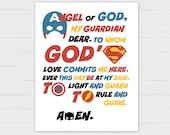 Guardian Angel Prayer: Superhero Version {digital download}