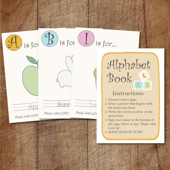 Alphabet book baby shower game printable babys first for Baby shower game booklet template