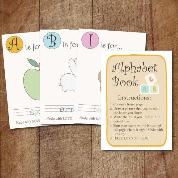 Alphabet Book Baby Shower Game Printable Babys First
