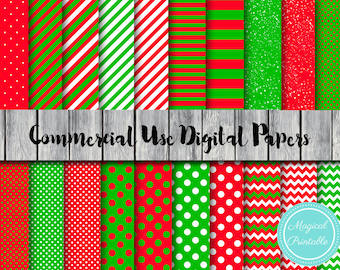 Christmas Digital Papers, Santa, Xmas, Instant Download Digital Papers, Commercial Use, Scrapbook Digital Papers, Digital Background, DP13