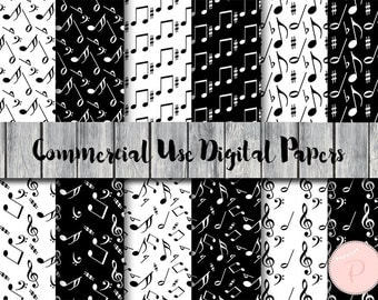Music Notes Pattern, Black White Music Digital Papers, Instant Download Digital Paper, Commercial Use, Scrapbook, Digital Background, DP65