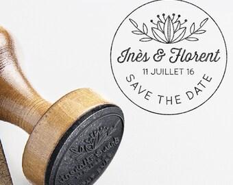 Personalized Wedding Stamp Lotus Flower