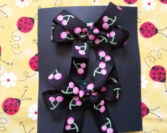 Black and Pink Cherry Pair Hairbows