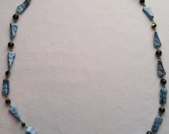 Vintage Blue/Black Glass Bead Long Necklace
