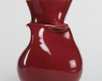 Red Wrinkled Ceramic Vase