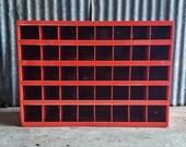 Vintage Metal Hardware Cabinet - Red Cubbies - Wurth black logo - Industrial Hardware Parts Storage - Garage Organization