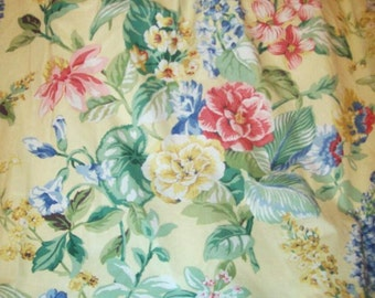 """Romantic Cottage Pinch Pleated Custom Made Curtains, Draperies Floral, Lined 86"""" long"""