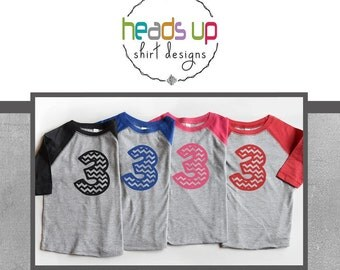 Birthday 3 Shirt Toddler Boy/Girl - Three Raglan Shirt Toddler Boy/Girl - 3rd Birthday - Chevron 3 Bday tshirt Raglan - Trendy - Tee Third -