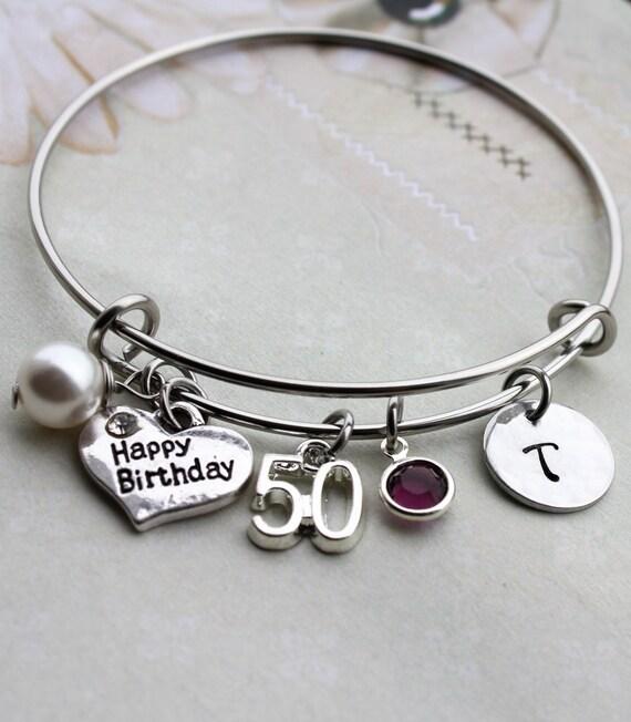 50th Birthday Bangle 50th Birthday Bracelet By Loveherbyalissa