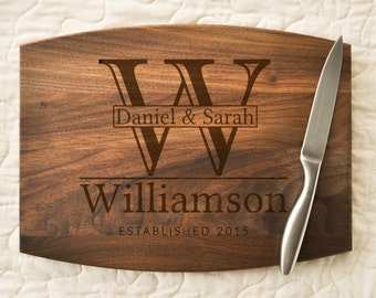 Couple Cutting Board, Engraved, Custom Cutting Board, Personalized Wedding Gift, Housewarming Gift, Anniversary Gift, Monogram, Personalized