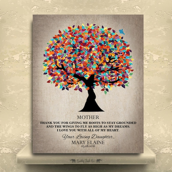 Thank You Gifts For Parents Wedding: Thank You Gift For Parents Colorful Tree Wedding Graduation
