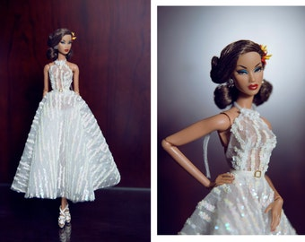 """lady white dress for fashion royalty , Poppy Parker, nu face , Silkstone , Barbie doll and same size fashion doll 12"""""""