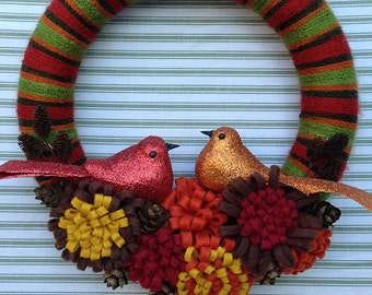 Love Bird Wreath, Bird Wreath, Fall Bird Wreath, Rustic Bird Wreath, Woodland Bird Wreath, Yarn Bird Wreath, Yarn Flower Wreath, Yarn Wreath