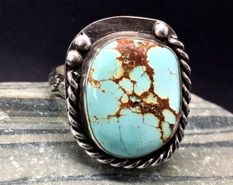 Turquoise Ring, Sky Cloud Turquoise Ring, Sterling Silver Ring, Statement Ring, Size 7.25 Ring