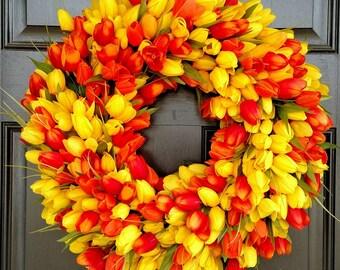 Spring Wreath, Tulip Wreath, Yellow Wreath, Orange Wreath, Flower Wreath, Easter Wreath