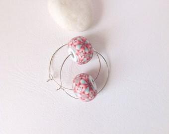 Modern Earrings , Coral and mint kaleidoscope, Polymer clay earrings , Contemporary earrings, Geometric earrings , Modern jewelry