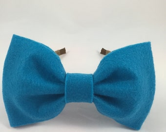 Blue Wool Felt Headband - Blair Waldorf Inspired little girl's Giant Bow Girls Hair Accessories / Medium Bow - 5.5in