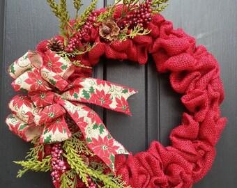 Christmas Burlap Flower Wreath